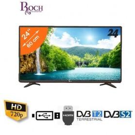 TV LED 24 Pouces - Ultra Slim - Décodeur Intégré - Noir - Garantie 12 Mois