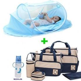 Berceau Portable Tente Avec Moustiquaire + Sac 5 Pièces Pour Bébé